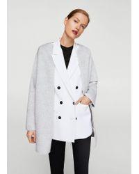 Mango Gray Wool-blend Classic Coat