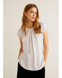 Mango White Ruched Detail Top