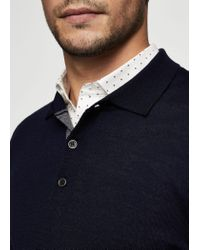 Mango - Blue Button Wool Sweater for Men - Lyst