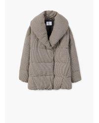 Mango Brown Houndstooth Wool-blend Anorak