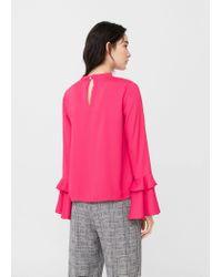 Mango Pink Ruffled Sleeve Blouse