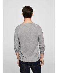 Mango - Gray Flecked Cotton-blend T-shirt - Lyst