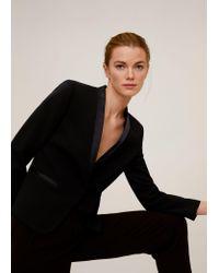 Mango Black Satin Collar Crepe Blazer