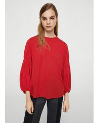 Mango - Red Ruched Detail T-shirt - Lyst