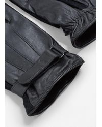Mango - Black Combined Leather Glove for Men - Lyst