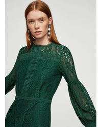 Mango - Green Puffed Sleeves Guipur Dress - Lyst