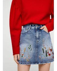 Mango Blue Embroidered Denim Skirt