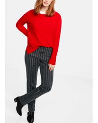 Violeta by Mango Red Slim Striped Jeans