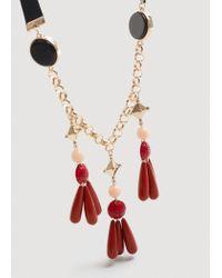 Mango - Black Appliqué Bead Necklace - Lyst