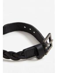 Mango - Black Leather Braided Bracelet - Lyst