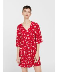 Mango - Red V-neckline Dress - Lyst
