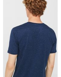 Mango | Blue Flecked Cotton-blend T-shirt for Men | Lyst