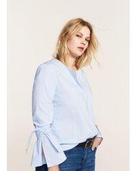 Violeta by Mango Blue Striped Bow Blouse