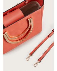 Violeta by Mango - Red Metallic Handle Tote Bag - Lyst