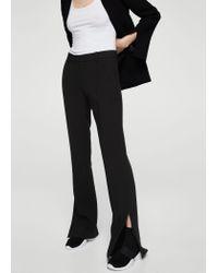 Mango Black Side Slit Flowy Trousers