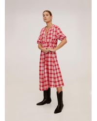 Mango Red Checked Cotton Dress