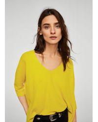 Mango - Yellow Ramie Sweater - Lyst