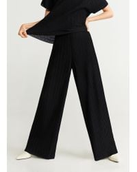 Mango Black Pleated Flowy Trousers