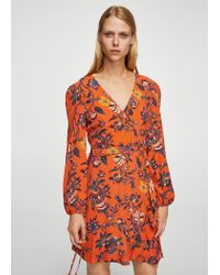 Mango - Orange Floral Wrap Dress - Lyst