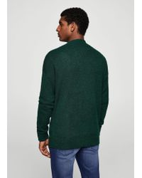 Mango - Green Textured Knit Cardigan for Men - Lyst