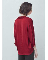 Mango | Red Wrap V-neckline Blouse | Lyst
