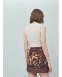 Mango - Brown Flowy Printed Skirt - Lyst
