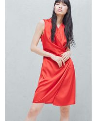 Mango Red Wrapped Satin Dress