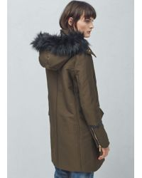 Mango - Black Cotton Hooded Coat - Lyst