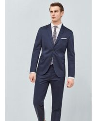 Mango - Blue Slim-fit Poplin Suit Blazer for Men - Lyst