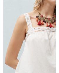 Mango - Metallic Flower Necklace - Lyst