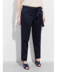 Violeta by Mango Blue Linen Baggy Trousers