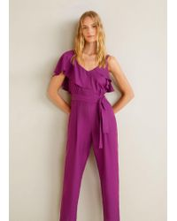 b77ba28c966 Mango Frilled Long Jumpsuit in Purple - Lyst