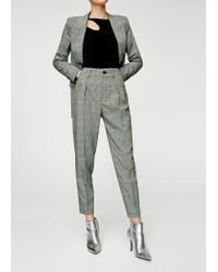 Mango Gray Prince Of Wales Suit Trousers