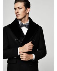 Mango Black Faux-fur Appliqué Wool Coat