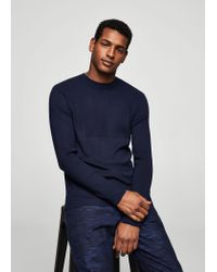 Mango - Blue Ribbed Detail Sweater for Men - Lyst