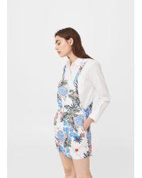 c1bc0c2fe52 Lyst - Mango Ring Printed Pinafore Dress in White