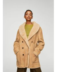 Mango | Natural Shearling-lined Coat | Lyst