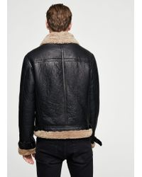 Mango Black Faux Shearling Aviator Jacket for men