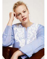 Violeta by Mango Blue Lace Cotton-blend Shirt