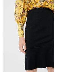 Mango | Black Fluted Hem Skirt | Lyst