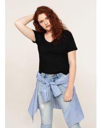 Violeta by Mango Black Essential Cotton T-shirt