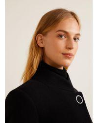 Mango - Black Buttoned Wool Coat - Lyst