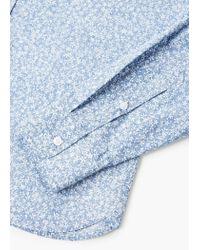Mango Blue Slim-fit Floral Print Shirt for men