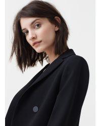 Mango - Black Double-breasted Jacket - Lyst