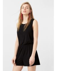 Mango - Black Cut-out Back Jumpsuit - Lyst