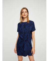 Mango - Blue Bow Jacquard Dress - Lyst