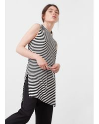 Mango | Black Ribbed Top | Lyst