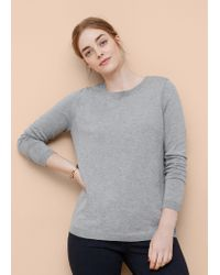 Violeta by Mango | Gray Decorative Button Sweater | Lyst