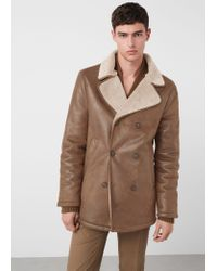 Mango - Blue Faux Shearling-lined Jacket for Men - Lyst