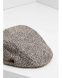 Mango Black Tweed Flat Cap